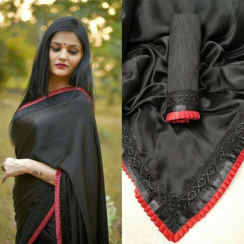 Fancy Plain Black Georgette Saree