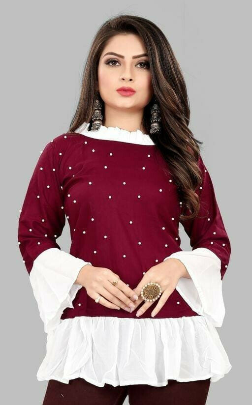 Fancy Red Rayon Top For Girls