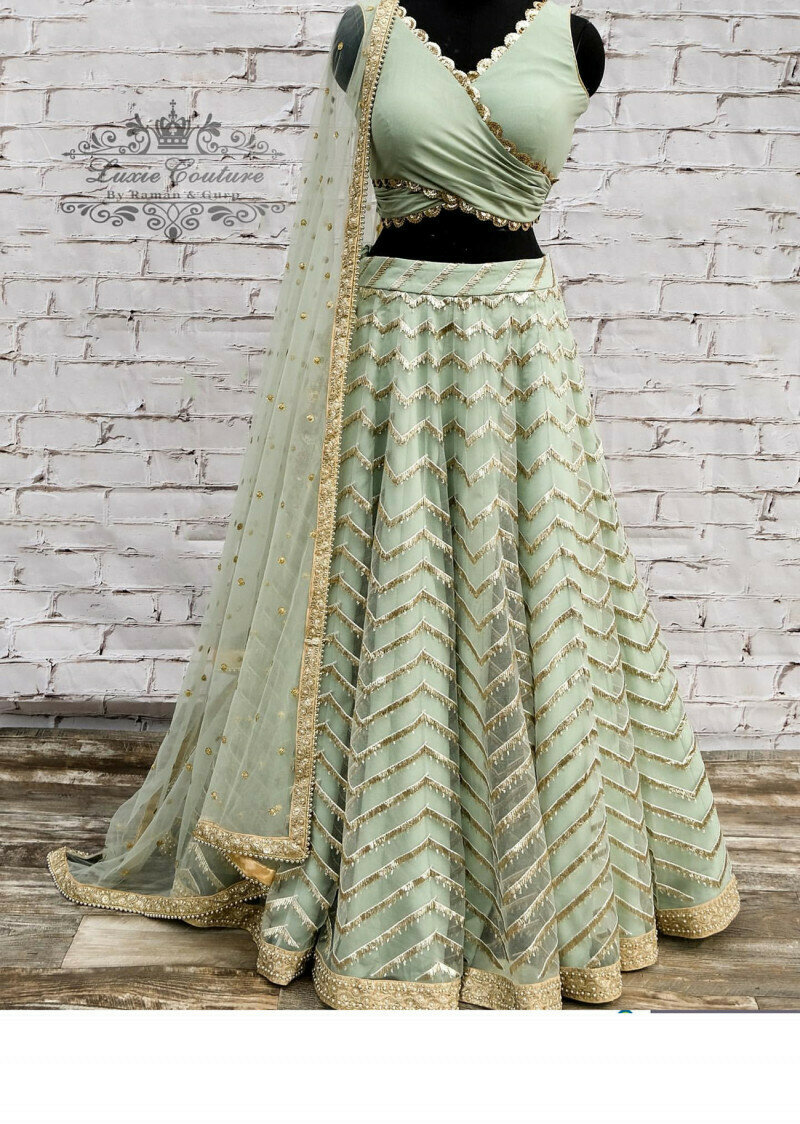 Fancy Thread With Jari Work Beautiful Pista Lehenga