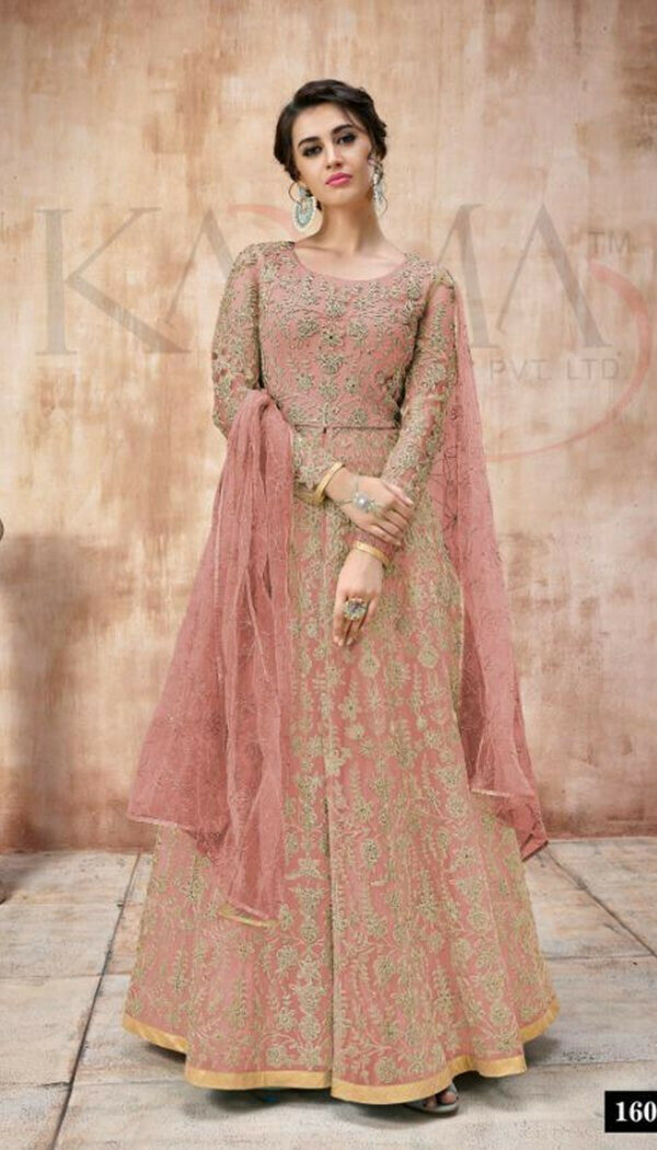 Fantastic Pink Colored With Net Embroidary Semi-stitch Suit