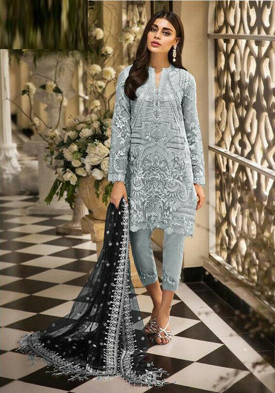 Faux Georgette Grey Color Pakistani Suit