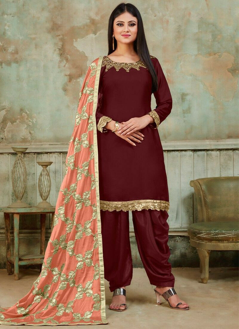 Festive Special Maroon Designer Patiala Suit