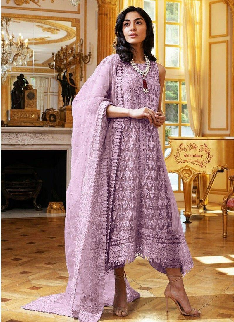 Festive Wear Lavender Heavy Net Designer Salwar Suit