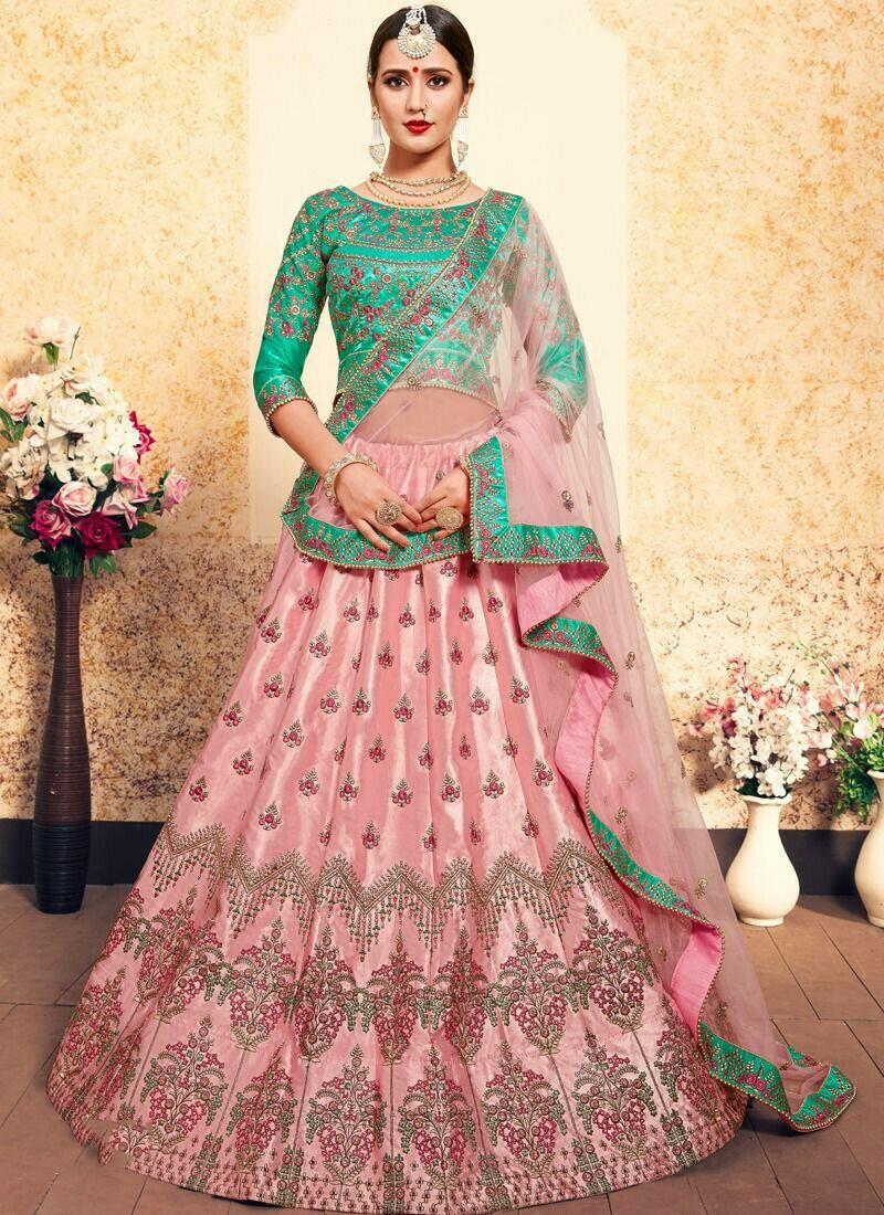 Festive Wear Satin Baby Pink Designer Lehenga Choli