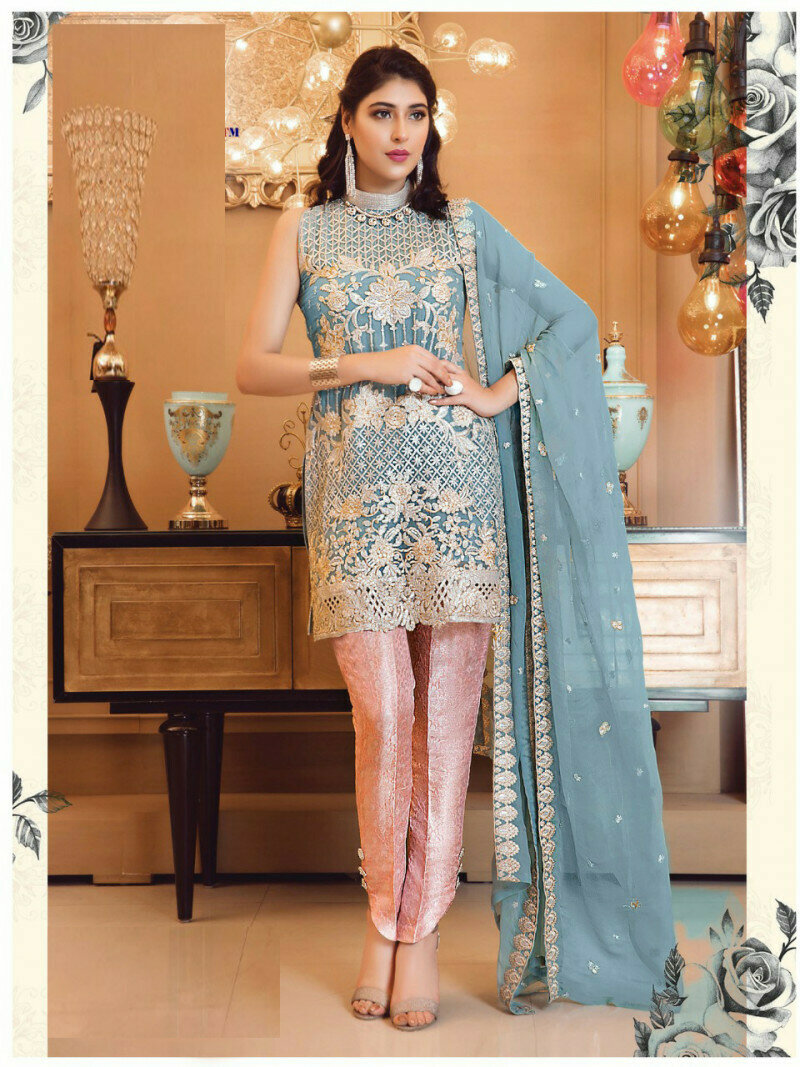 Flamboyant Gray Blue Color Party Wear Salewar Suit