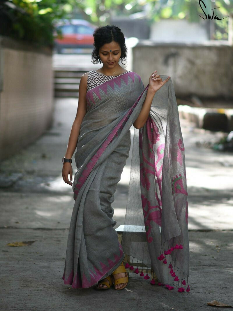 Flattering Grey And Pink Colored Festive Wear Pure Linen Designer Saree For Women
