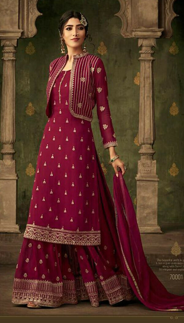 Flirty Pink Colored Georgette Printed Work Plazzo Kurti