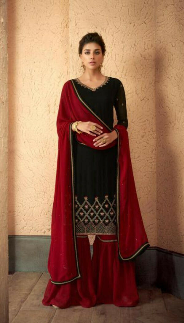 Flirty Red Colored Reyon Embroidary Work Sharara Suit