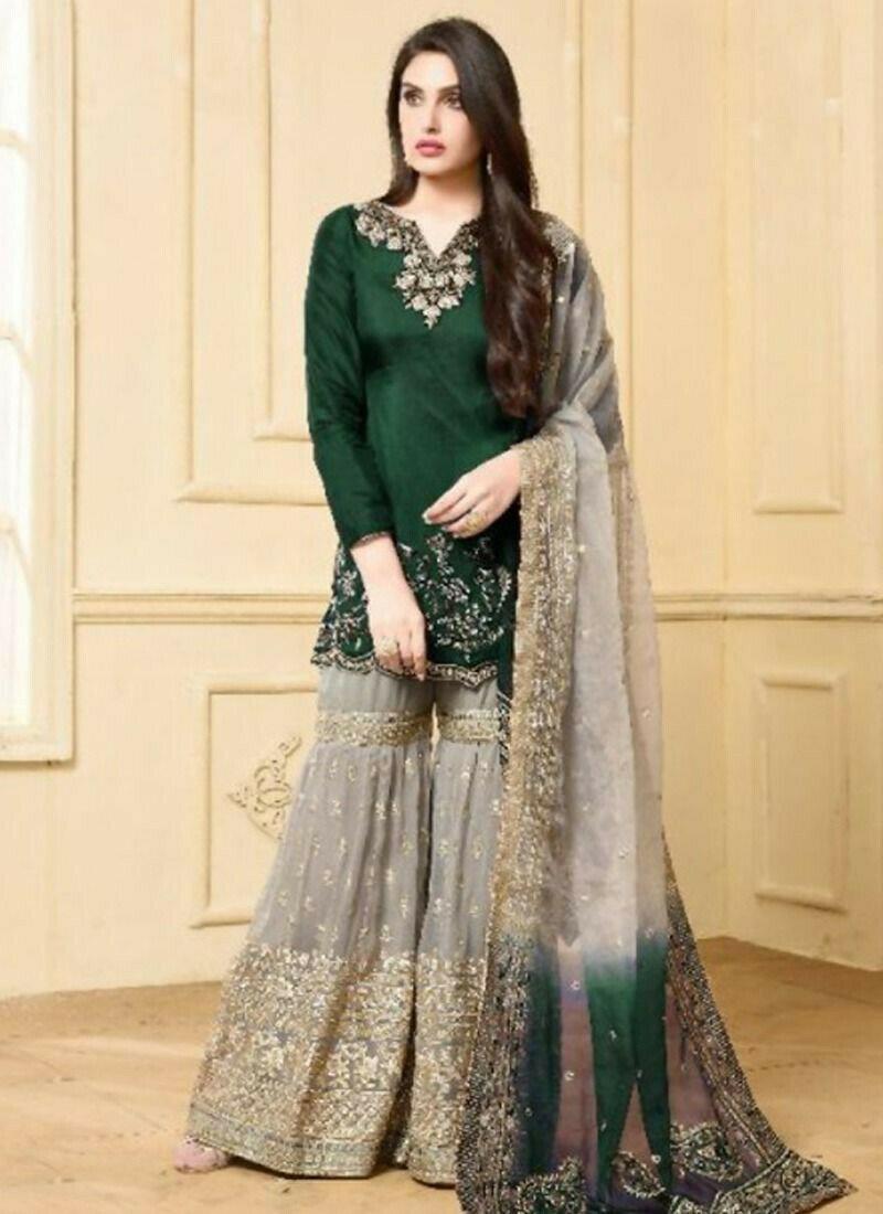Foux Georgette Green Designer Beautiful Design Party Wear Latest Salwar Suit Eid Collection