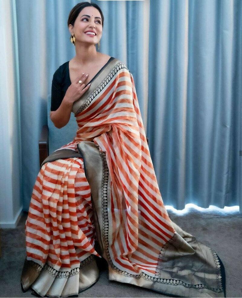 Georget With Zari Weaving  Jacquard Pallu Lace Printed Saree