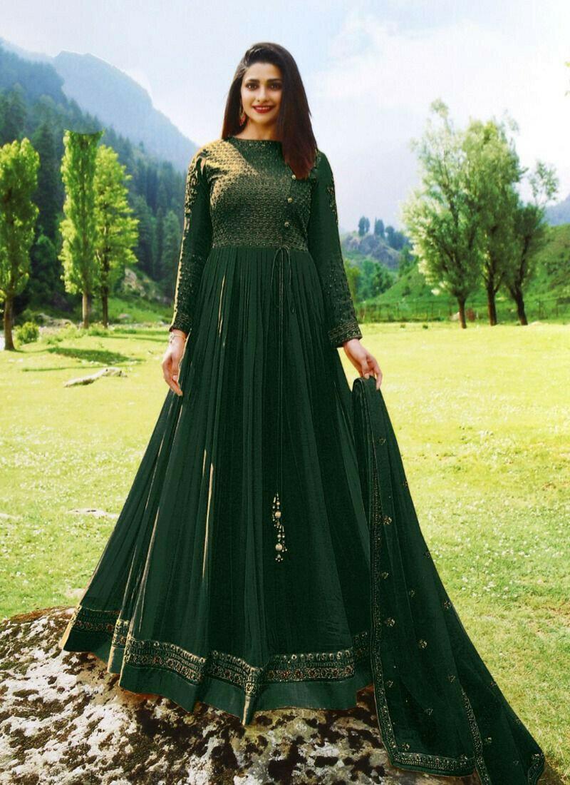 Georgette Dark Green Designer Beautiful Design Party Wear Latest Salwar Suit Eid Collection