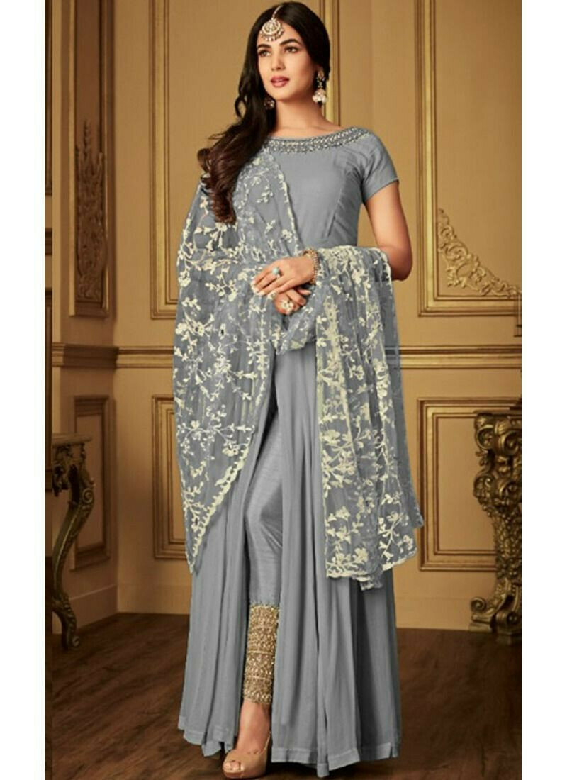 Georgette Dusty Grey Designer Beautiful Design Party Wear Latest Salwar Suit Eid Collection