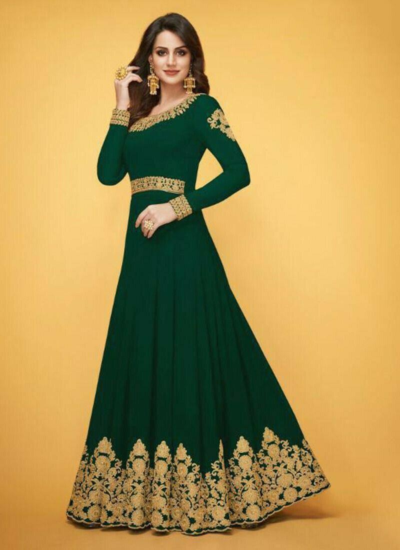 Georgette Green Designer Beautiful Design Party Wear Latest Salwar Suit Eid Collection