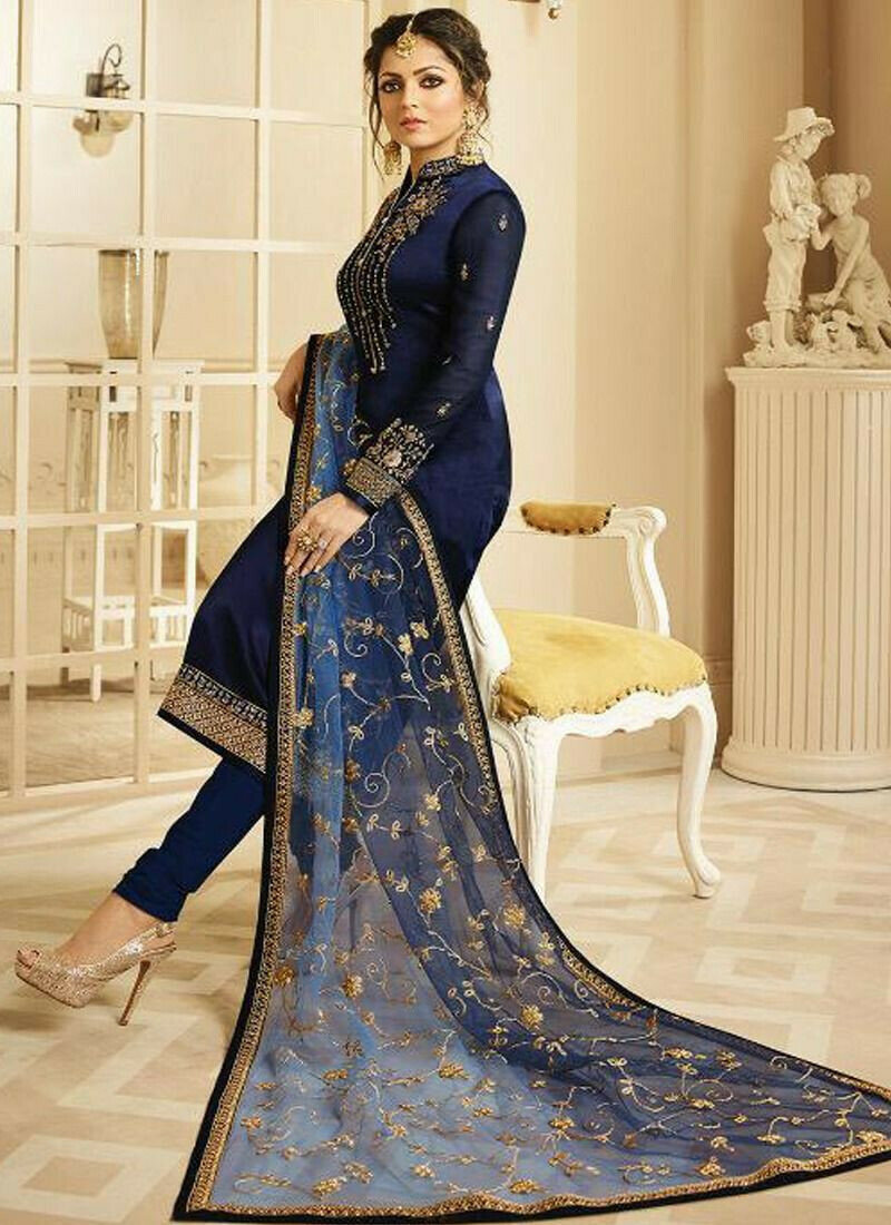 Georgette Navy Designer Beautiful Design Party Wear Latest Salwar Suit Eid Collection