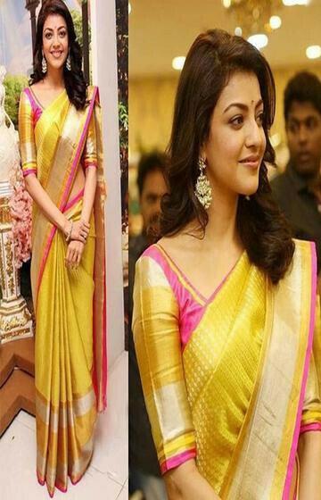 Gleaming Yellow Color Soft Silk Designer Saree