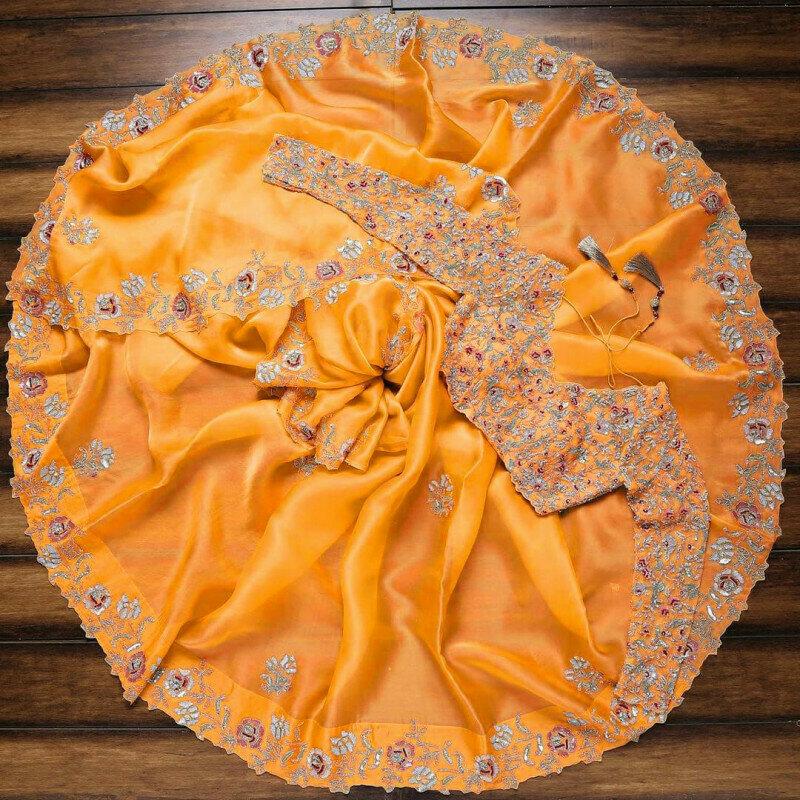 Glossy Orange Colored Organza Silk Designer Saree With Heavy Blouse