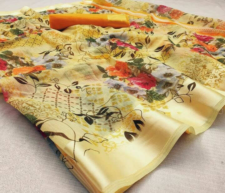 Good Looking Yellow Cotton Satin Patta Saree for Party Wear