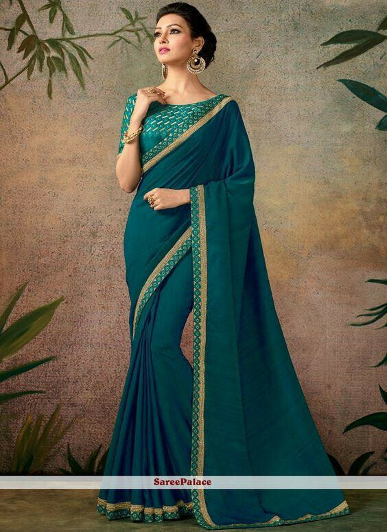 gorgeous  Faux Georgette green Color Embroidered Saree With Blouse