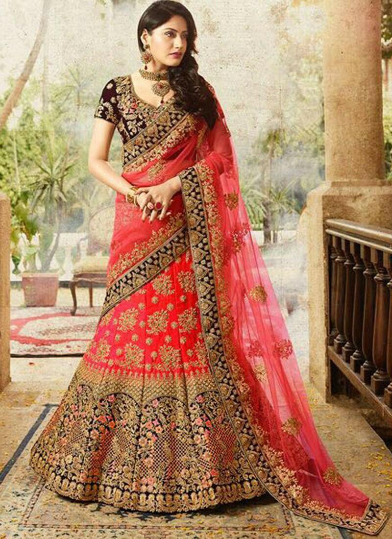 Gorgeous Anika looking Stunning In Beautiful In Red Taffeta Silk Velvet Thread Work Designer lehenga