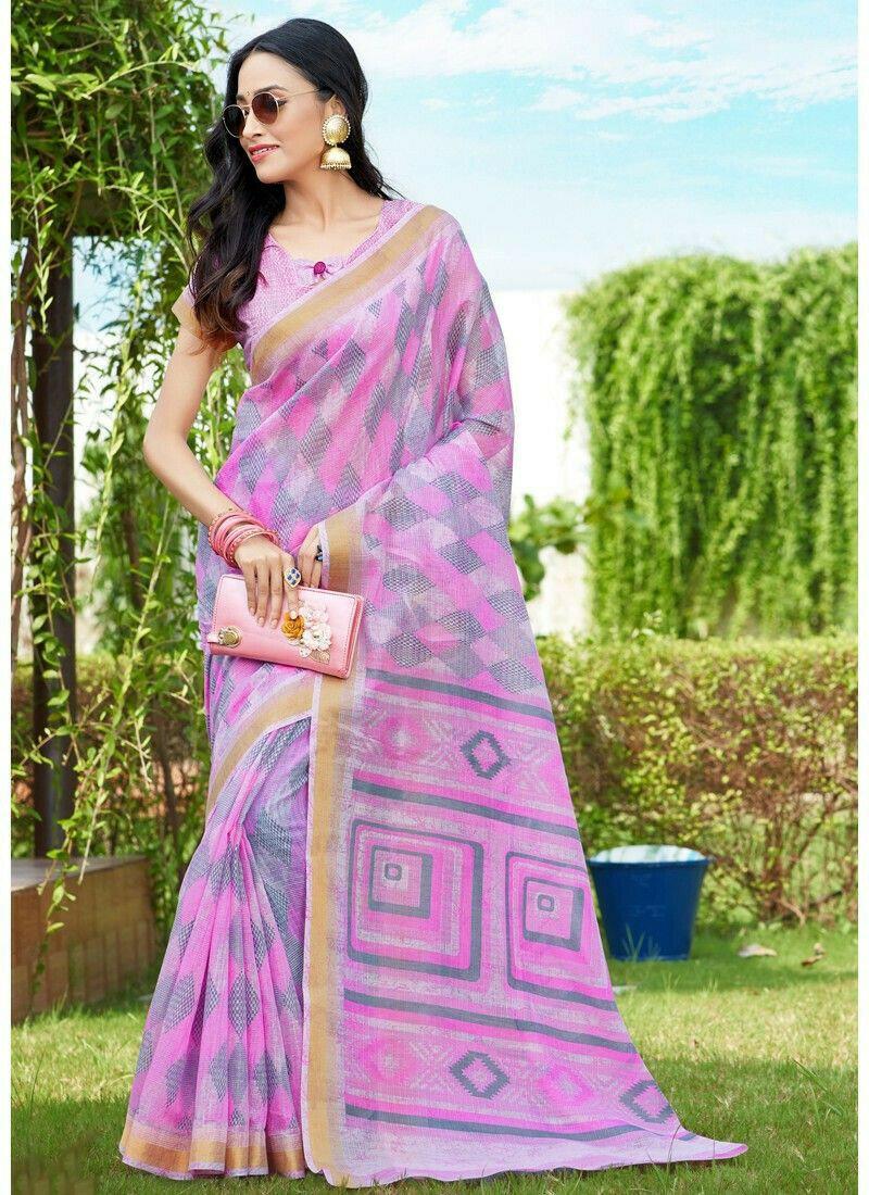 Gorgeous Baby Pink Designer Cotton Saree