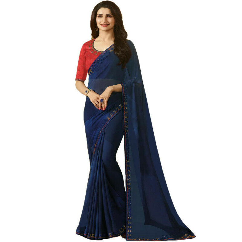 Gorgeous Navy Blue Colored Casual Wear Georgette Saree