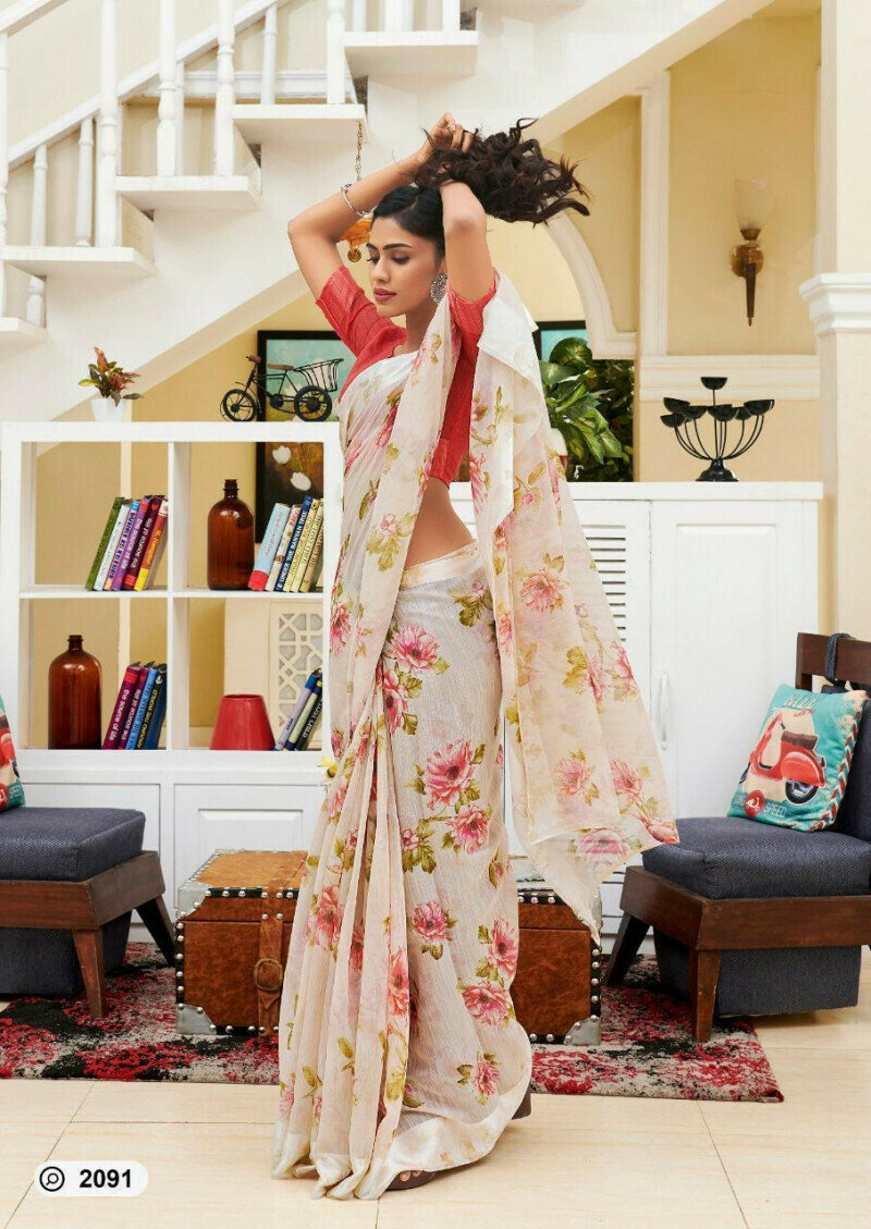 Gray & Red Colored Party Wear Flower Digital Print Linen Saree