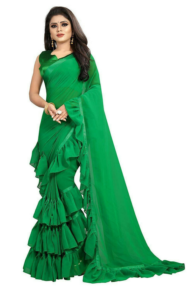 Green Color Georgette Ruffle Frill Saree With Blouse Piece