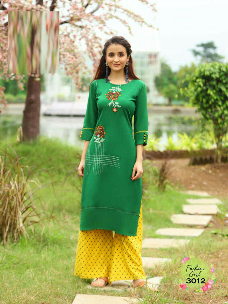 Green Color Party Wear Palazzo Suit