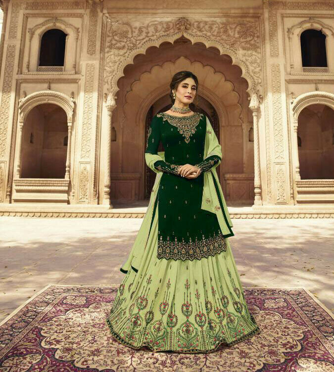 Green Colored Party Wear Lehenga Suit
