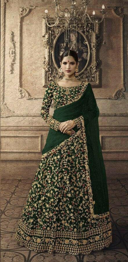 Green Colour Embroidery Lehenga Choli