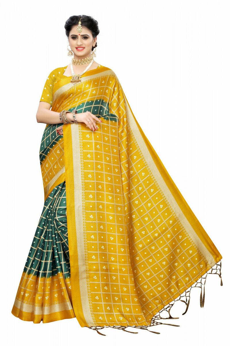 Green Colour Printed Saree