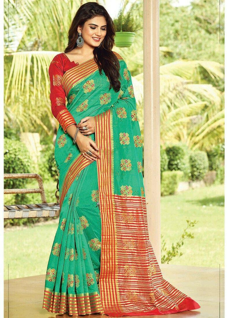 Green Cotton Festive Wear Classy Saree