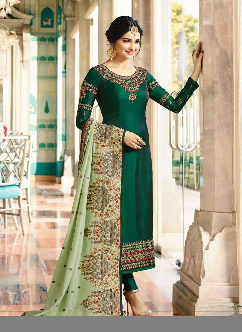 Green Silk Straight Salwar Suits