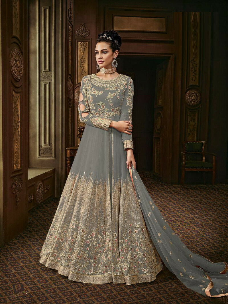 Grey  Colored  Anarkali  Suit With  Embroidery Work