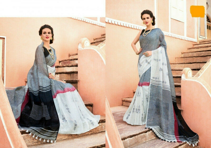 Grey & White Linen Printed Designer Function Wear Saree With Blouse