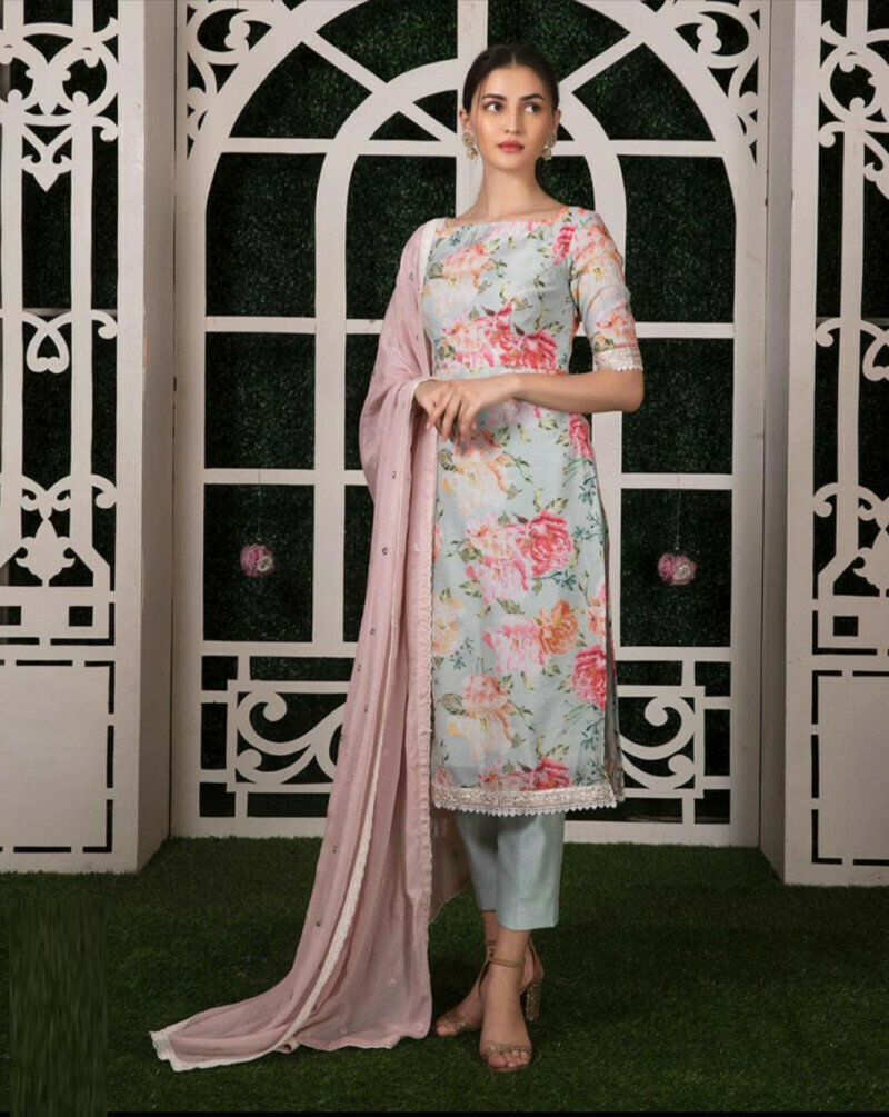 Grey Color Printed Party Wear Palazzo Pent With Top