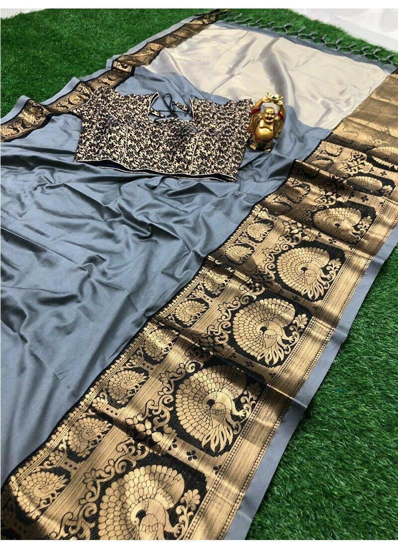 Grey Cotton Silk Paithani Saree