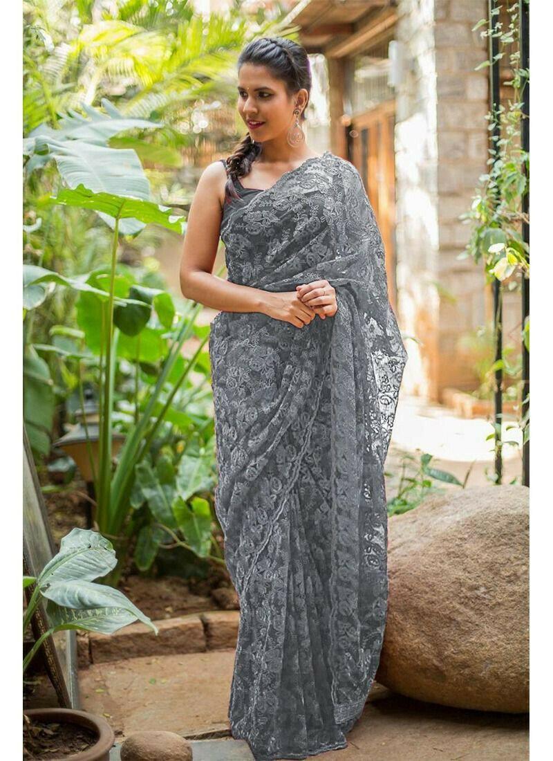 Grey Fancy Thread Work Naylon Net Wedding Designer Saree