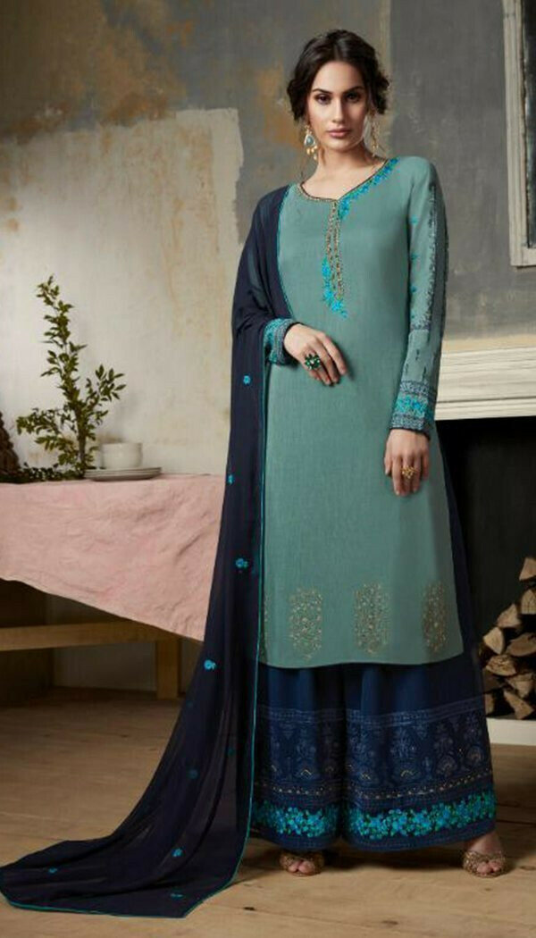 Groovy Blue Colored Georgette Embroidary Work Plazzo suit