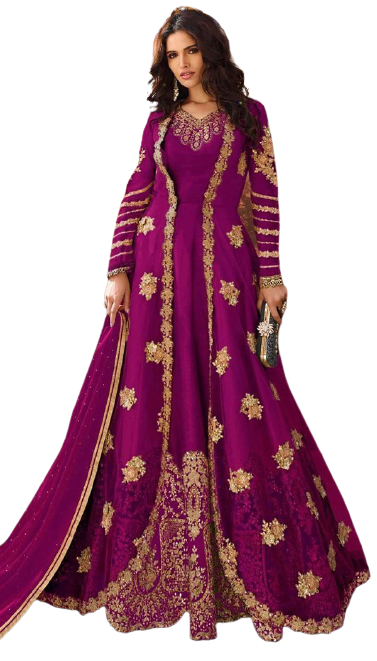 Groovy Pink Colored Embroidary Work Semi-stitch Ethnic Wear Gown