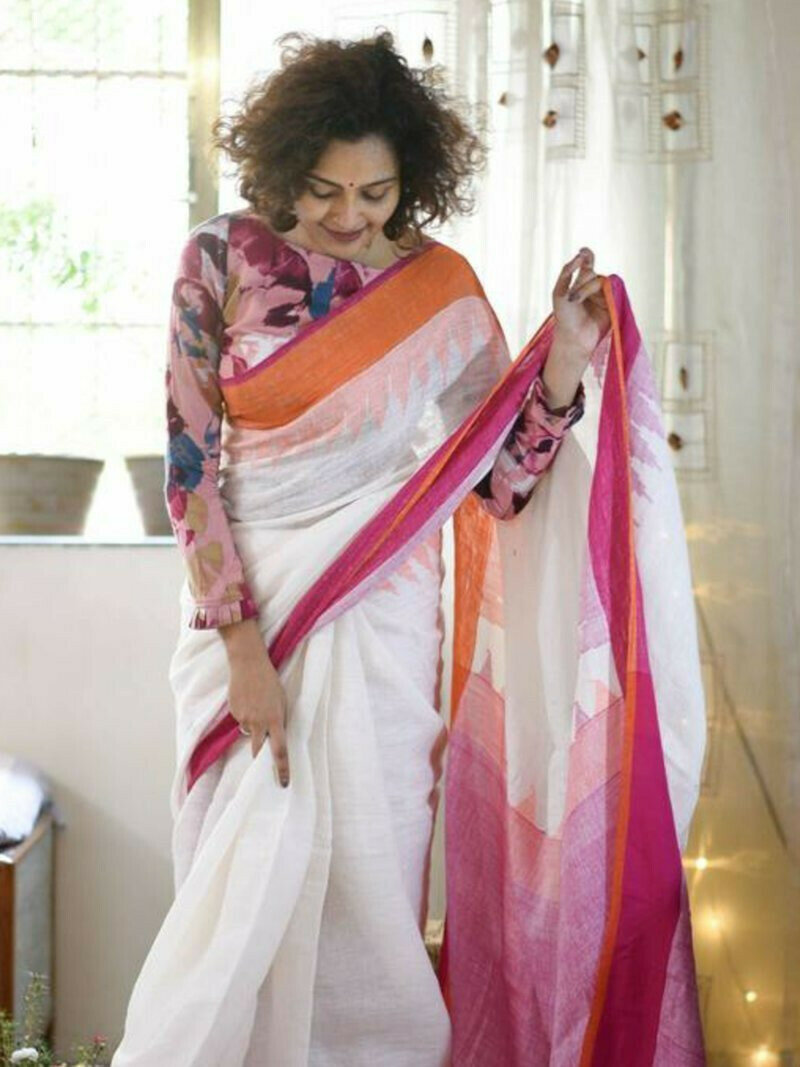 Groovy White And Pink Colored Festive Wear Pure Linen Designer Saree For Women