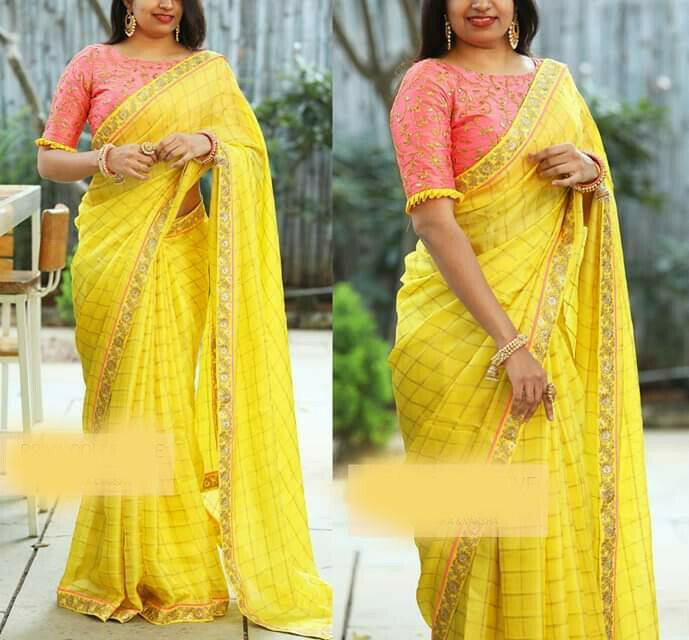 Heavy Cotton Chex With Coding and Sequance Embroidery Work Designer Saree (Yellow)