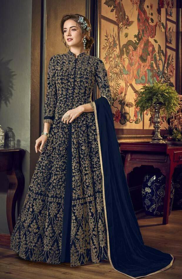 Heavy Embroidered Butterfly Net Blue Anarkali Dress