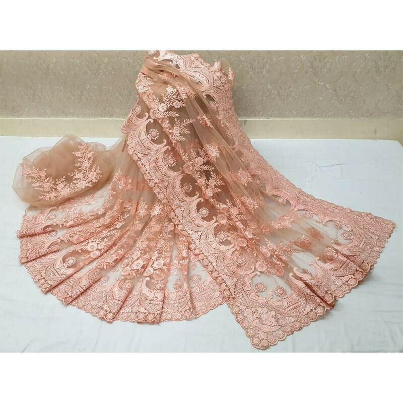 Heavy Embroidery Stone Work Light Peach Soft Net Saree