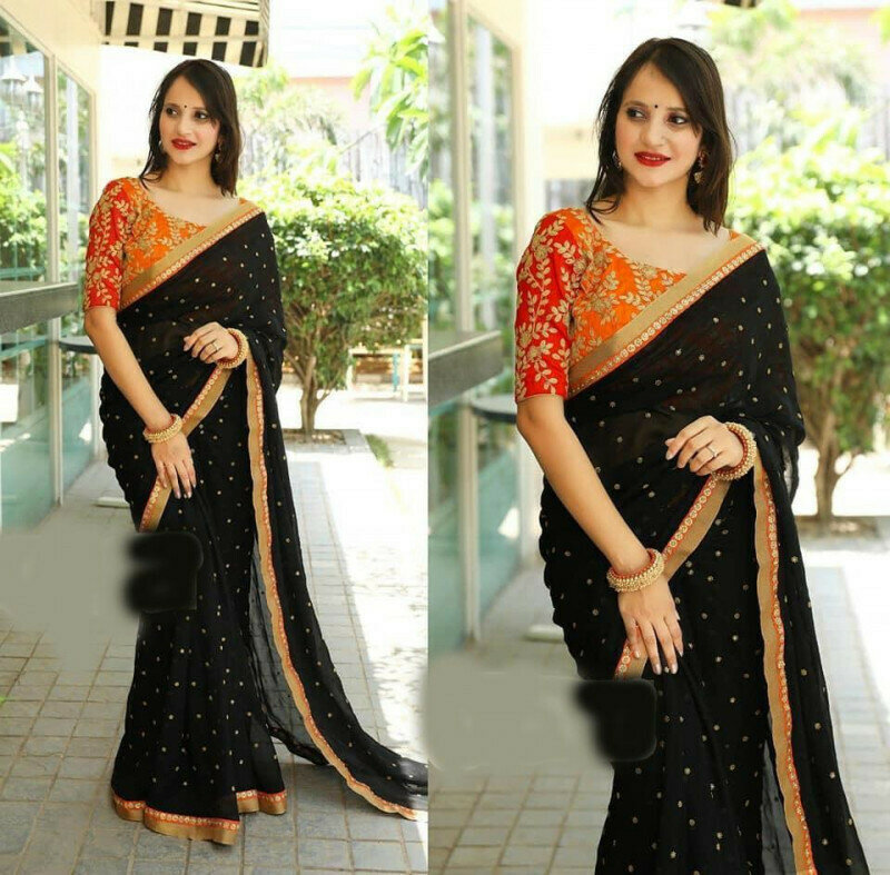 Heavy Embroidery Work Party Wear Black Saree