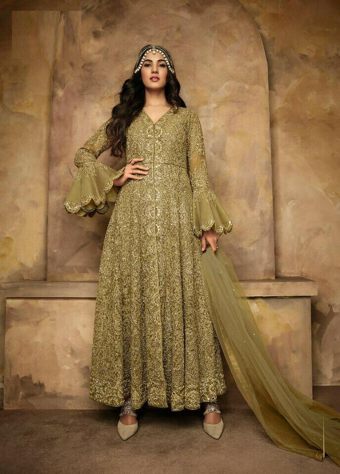 Heavy Embroidery Work Pista Color Anarkali Suit