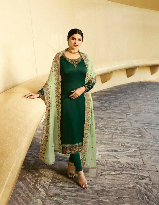 Heavy Embroidery Work Salwar Suit In Green Color