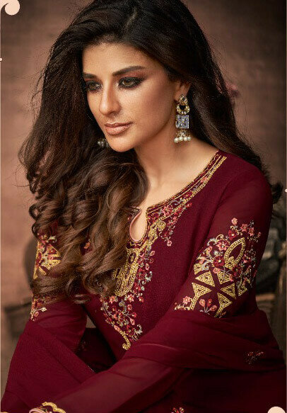 Heavy Georgette Maroon Embroidered Suit