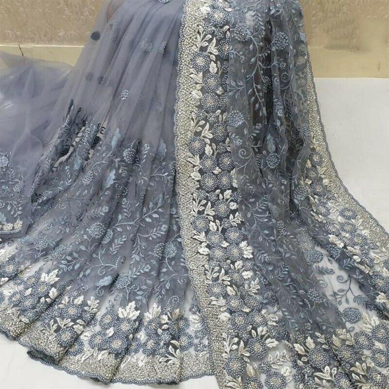 Heavy Naylon Net Grey Color Latest Design Party Wear Saree