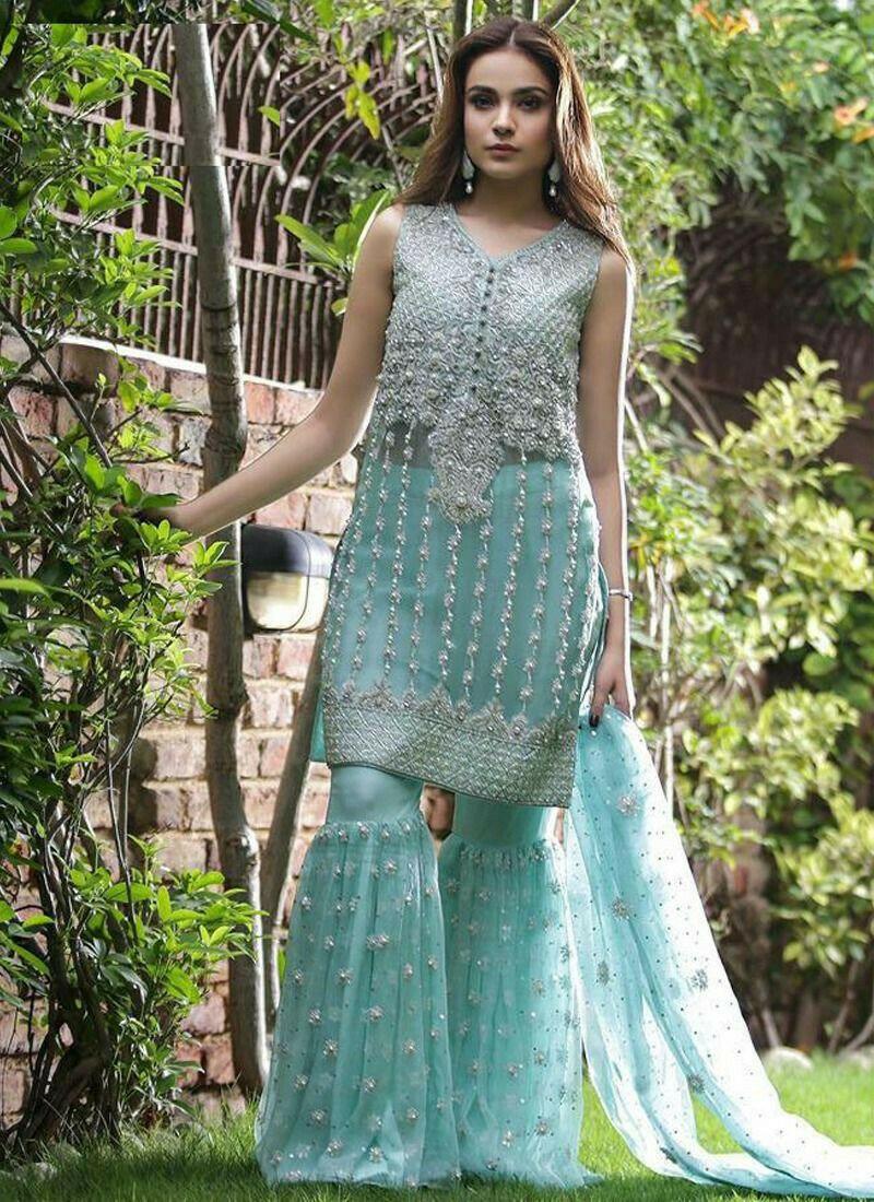 Heavy Net Sky Blue Designer Beautiful Design Party Wear Latest Salwar Suit Eid Collection